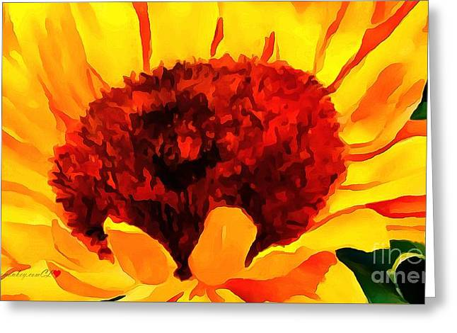 Print On Canvas Greeting Cards - Floral Yellow Xanthic In Thick Paint Greeting Card by Catherine Lott