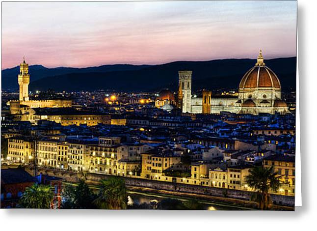 Michelangelo Greeting Cards - Florence at dusk panorama Greeting Card by Weston Westmoreland