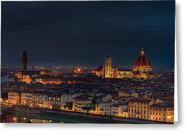 Michelangelo Greeting Cards - Florence before Sunrise Greeting Card by Serghei Loburenco