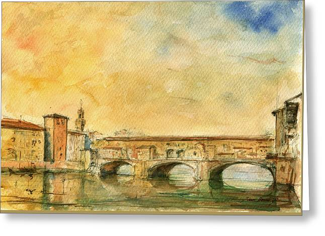 Toscana Greeting Cards - Florence Bridge Ponte Vecchio Greeting Card by Juan  Bosco