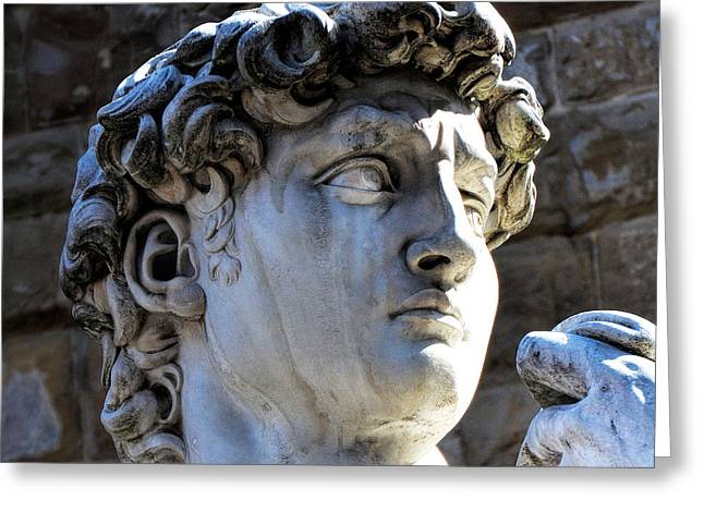 Florence, Italy  David's Head Statue Greeting Card by Barbara Peonio
