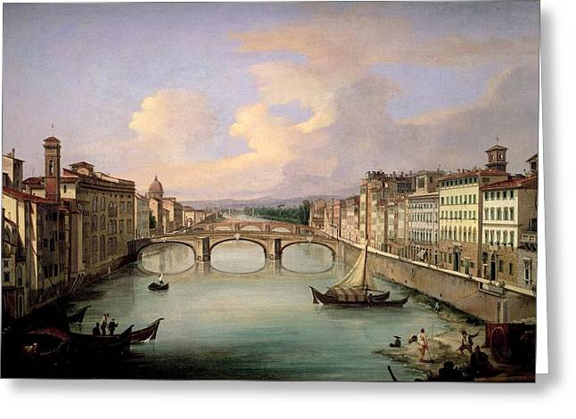 Arno Greeting Cards - Florence from the Ponte Vecchio Greeting Card by Giovanni Signorini