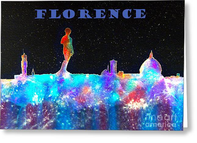 Michelangelo Greeting Cards - Florence Italy Skyline - Blue Banner Greeting Card by Bill Holkham