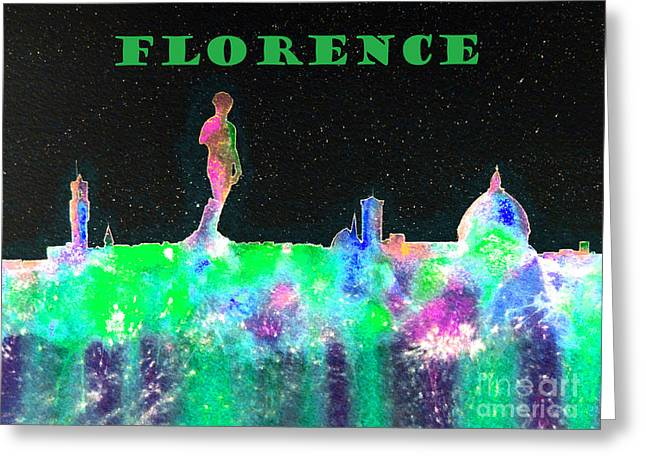 Florence Italy Skyline - Green Banner Greeting Card by Bill Holkham