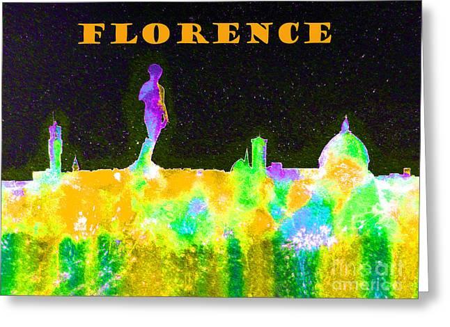 Florence Italy Skyline - Orange Banner Greeting Card by Bill Holkham