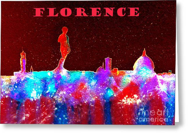 Firenza Greeting Cards - Florence Italy Skyline - Red Banner Greeting Card by Bill Holkham