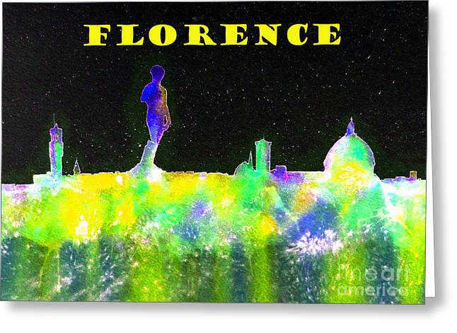 Firenza Greeting Cards - Florence Italy Skyline - Yellow Banner Greeting Card by Bill Holkham