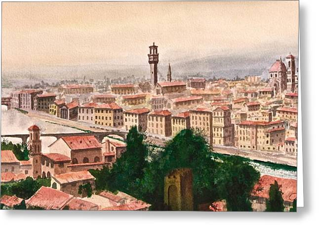 Michelangelo Greeting Cards - Florentine Panorama Greeting Card by Frank SantAgata