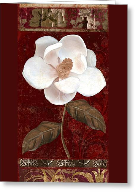 Red And Gold Greeting Cards - Flores Blancas Rectangle I Greeting Card by Mindy Sommers