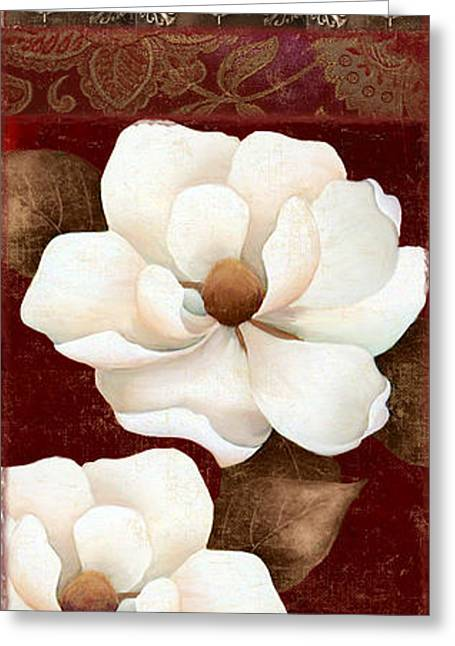 Red And Gold Greeting Cards - Flores Blancas Rectangle II Greeting Card by Mindy Sommers
