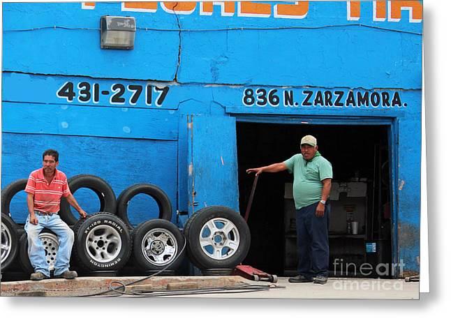 Metal Tires Greeting Cards - Flores Tires  Greeting Card by Joe Jake Pratt
