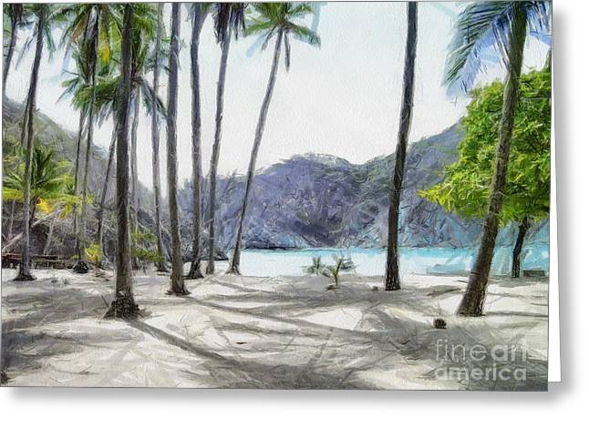 Beach Landscape Drawings Greeting Cards - Florida beach Greeting Card by Murphy Elliott