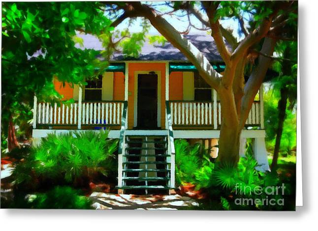 Florida House Greeting Cards - Florida Cottage Greeting Card by Perry Webster