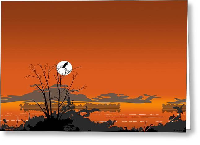 Greeting Card - Florida Everglades Tropical Birds Orange Sunset Greeting Card by Walt Curlee