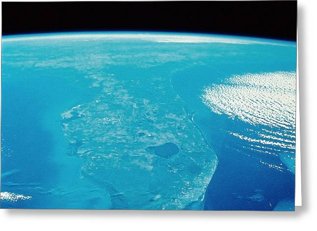 Terra Colors Greeting Cards - Florida From Space Greeting Card by Stocktrek Images