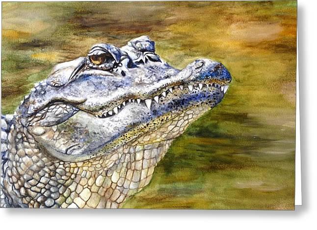 Florida Gators Paintings Greeting Cards - Florida Gator Greeting Card by Alexandra Franzese