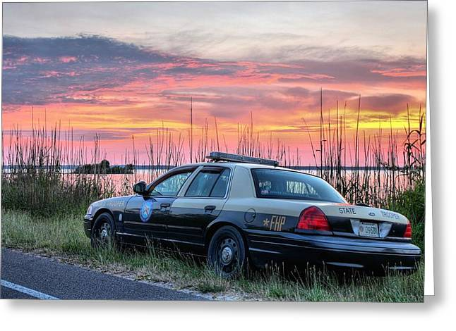 Police Patrol Law Enforcement Greeting Cards - Florida Highway Patrol Greeting Card by JC Findley