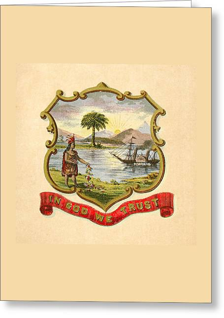1876 Digital Greeting Cards - Florida Historical Coat of Arms circa 1876 Greeting Card by Serge Averbukh