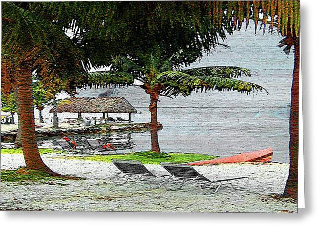 Florida Keys Beach On Wood Greeting Card by Ken Figurski