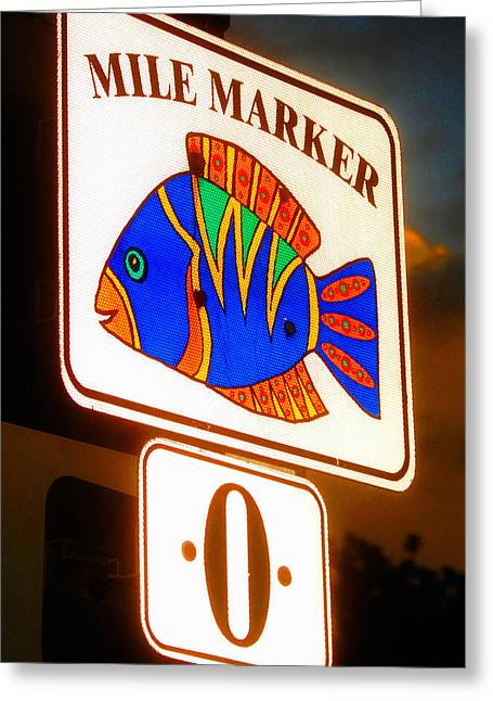 Mile Marker Greeting Cards - Florida Mile Marker 0 Greeting Card by David Lee Thompson