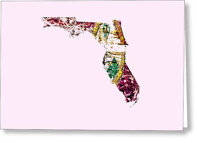 Florida Flowers Mixed Media Greeting Cards - Florida Paint Splatter Greeting Card by Brian Reaves