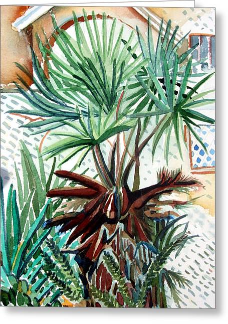 Summer Landscape Drawings Greeting Cards - Florida Palm Greeting Card by Mindy Newman