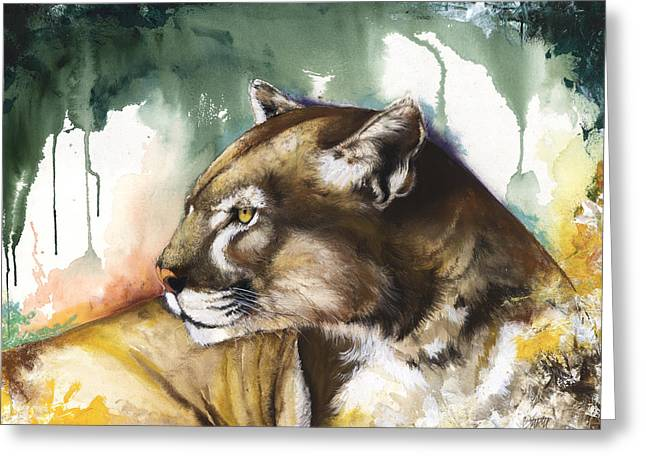 Tree Roots Mixed Media Greeting Cards - Florida panther 2 Greeting Card by Anthony Burks Sr