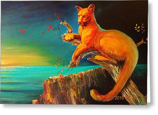 Sea Lions Greeting Cards - Florida Panther at Linear Park Greeting Card by Elke Werner