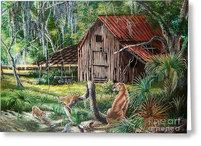 Pen Greeting Cards - The Endangered Florida Panther- The Fight for Survival Greeting Card by Daniel Butler