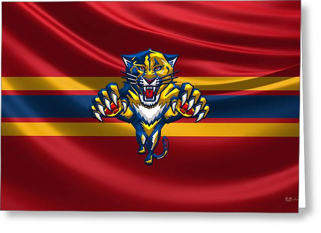 Hockey Memorabilia Greeting Cards - Florida Panthers - 3D Badge over Silk Flag Greeting Card by Serge Averbukh