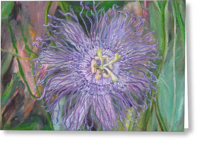 Passionflower Greeting Cards - Florida Passion Flower Vine Greeting Card by Patty Weeks