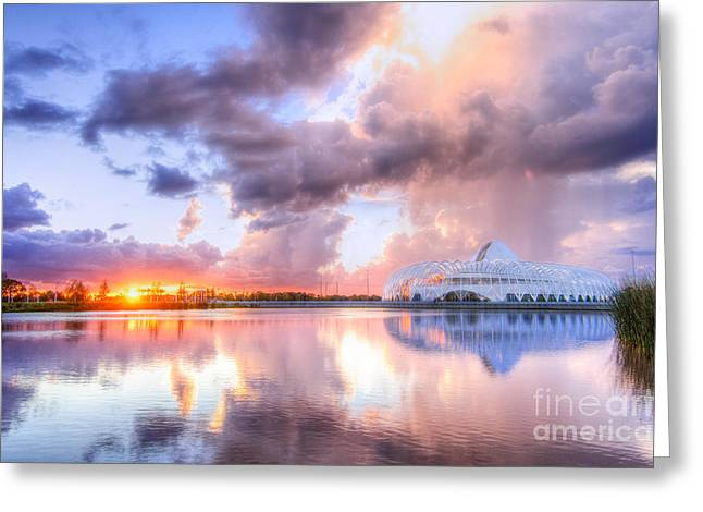Auburndale Greeting Cards - Florida Polytechnc Reflected at Sunset Greeting Card by Karl Greeson