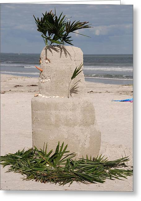 Sandman Christmas Card Greeting Cards - Florida Snow Man Greeting Card by Susanne Van Hulst