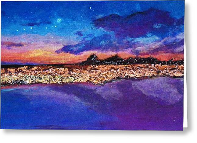 Snorkel Mixed Media Greeting Cards - Florida Starry Night I Greeting Card by Maria Boudreaux