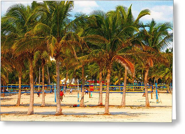 Sand Art Digital Art Greeting Cards - Florida Style Volleyball Greeting Card by David Lee Thompson