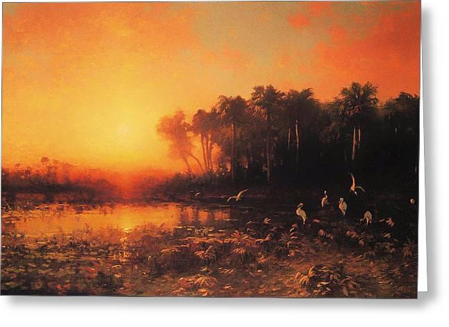 Haze Paintings Greeting Cards - Florida Sunrise Greeting Card by George Herbert McCord