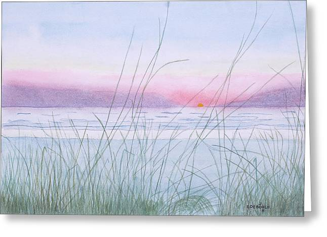 Sunset Seascape Drawings Greeting Cards - Florida Sunset Greeting Card by John Edebohls