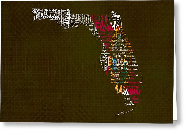 Florida Flowers Mixed Media Greeting Cards - Florida Typographic Map Greeting Card by Brian Reaves
