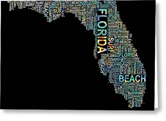 Jacksonville Mixed Media Greeting Cards - Florida Word Art Map Greeting Card by Barbara Chichester