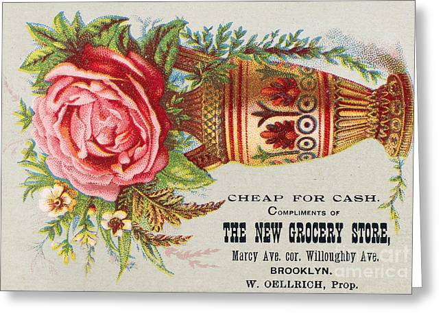 Trade Card Greeting Cards - FLORIST TRADE CARD, c1890 Greeting Card by Granger