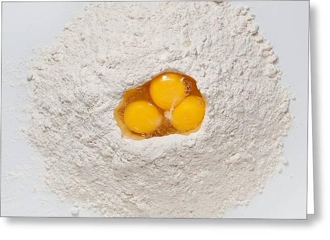 Flour Greeting Cards - Flour and Eggs Greeting Card by Steve Gadomski