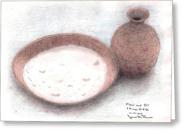 Flour Drawings Greeting Cards - Flour and Oil Greeting Card by James M Thomas