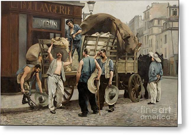 Flour Paintings Greeting Cards - Flour carriers. Parisian scene Greeting Card by Celestial Images