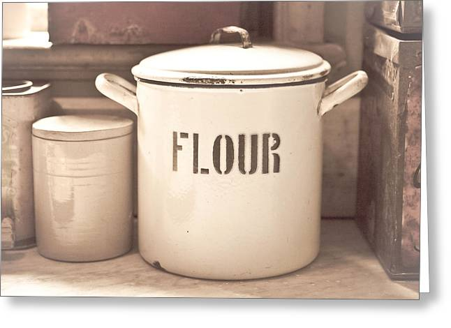 Culinary Photographs Greeting Cards - Flour tin Greeting Card by Tom Gowanlock