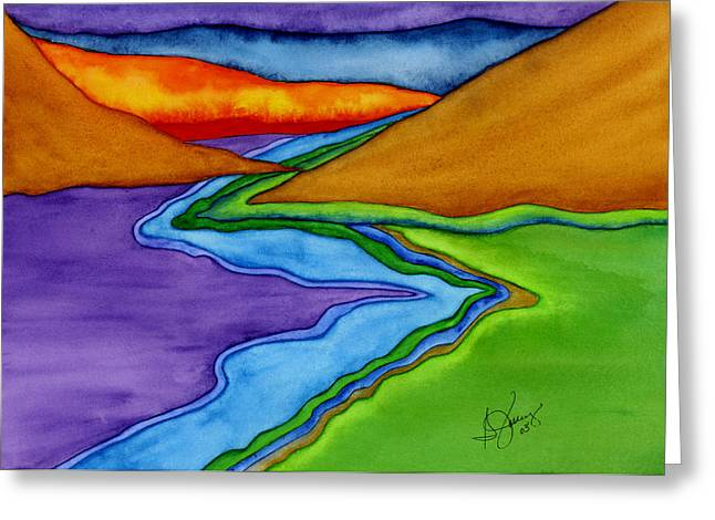 Chakra Rainbow Greeting Cards - Flow - Blending the Chakras Greeting Card by Stephanie  Jolley