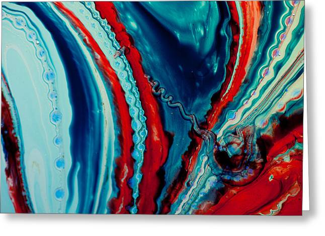 Modern Photographs Greeting Cards - Flow in Red and Blue Greeting Card by John Daly