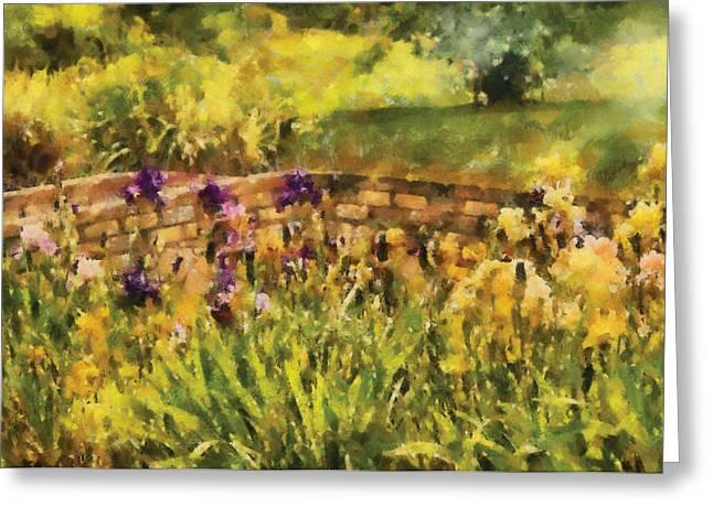 Flower - Iris - By The Bridge Greeting Card by Mike Savad
