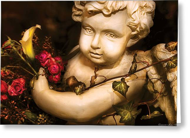 Flower - Rose - The Cherub  Greeting Card by Mike Savad