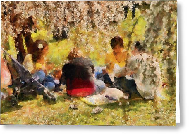 Family Picnic Greeting Cards - Flower - Sakura - Afternoon Picnic Greeting Card by Mike Savad