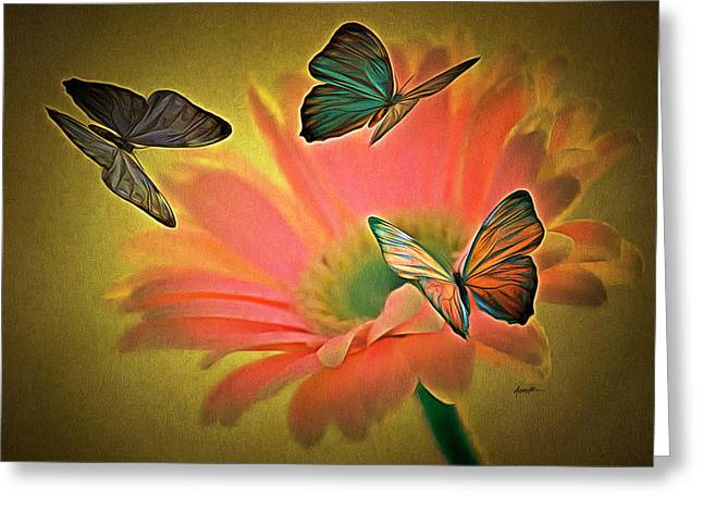 Anthony J. Caruso Greeting Cards - Flower and Butterflies Greeting Card by Anthony Caruso